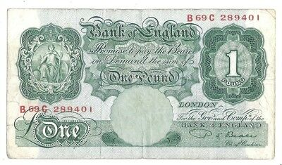 Great Britain 1 Pound 1949-55 at (VF) Condition Banknote P-369b