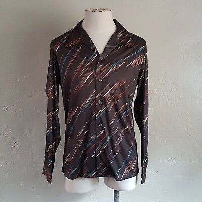 VTG 70s ~ Stuart Mann ~ Long Sleeve Disco Shirt ~ Brown ~ Big Collar ~ L Slim