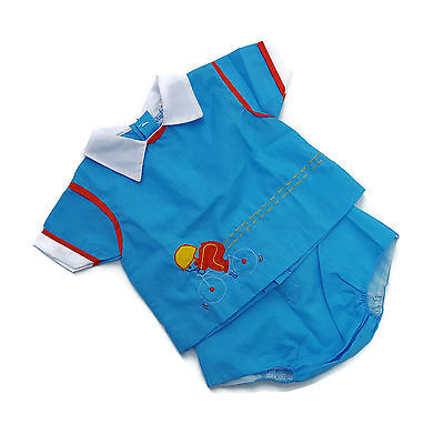 Vintage Baby Boy Diaper Shirt Pants Outfit Blue Bicycle 80s Mayfair 9 month