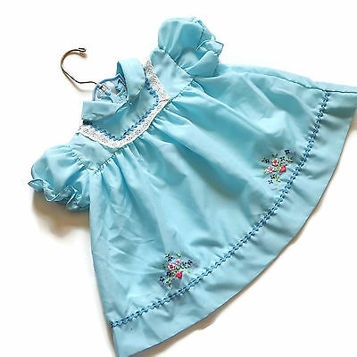 Vintage Baby Dress Blue Rick Rack Embroidered Lace Mid Century 9 12 Months
