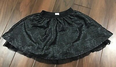 The Childrens Place Girls Small (5-6) Black Skirt w Floral Cuts Elastic Waist