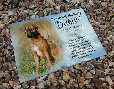 Personalised white cermaic tile headstone memorial plaque Boxer dog memory gift
