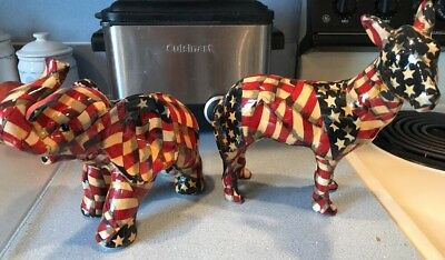 Red/White&Blue/Patriotic Elephant And Donkey Lot Of 2 Vintage