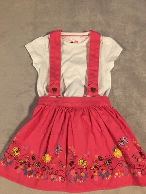 TU Pink Embroidered Skirt with Removable Braces and Matching Top 18-24 Months