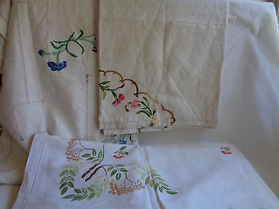 Vintage Lot of 3 Linen Tablecloths Embroidered Cut Work 48x54 56x72 54x70