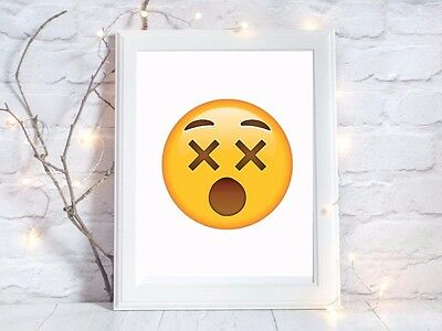 dizzy emoji face a4 glossy poster Print nursery picture gift unframed 2