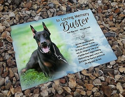 Personalised white cermaic tile headstone memorial plaque Doberman dog gift