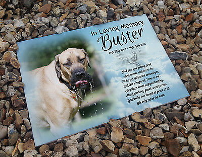 Personalised white cermaic tile headstone memorial plaque English mastiff dog