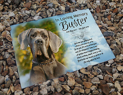 Personalised white cermaic tile headstone memorial plaque Great Dane Dog gift