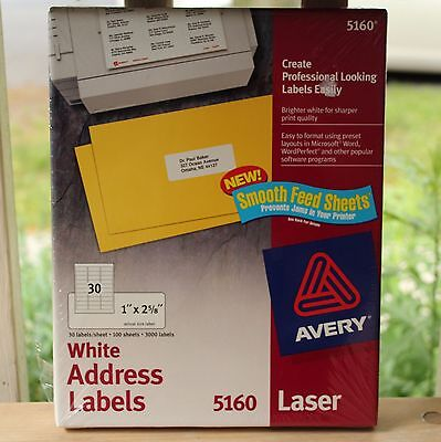 "Avery 5160, 3000 White Address Labels, 1"" x 2 5/8"" Office Supplies"