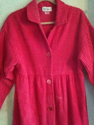 APOSTROPHE VTG Chenille Robe Cherry Red Long USA M 12 14 Cotton Button Front