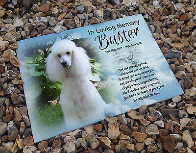 Personalised white cermaic tile headstone memorial plaque Poodle dog gift