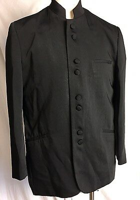 Men's Victorio St.Angelo solid Black NEHRU JACKET FORMAL SIZE 44 R