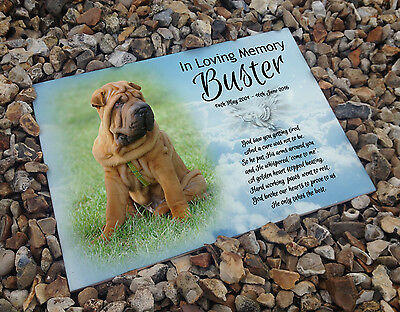 Personalised white cermaic tile headstone memorial plaque Shar Pei dog gift