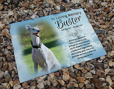 Personalised white cermaic tile headstone memorial plaque Whippet dog gift