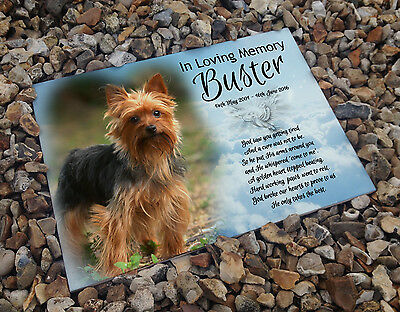 Personalised white cermaic tile headstone memorial plaque Yorkshire terrier dog