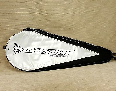 Dunlop 400 Sport Tennis Racket Cover Zipper Case w/ Strap Black Gray Racquetball