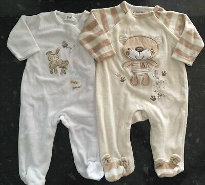 UNISEX Velour All In One Rompers Babygrows Rock A Bye Baby/F&F 0-3 Months