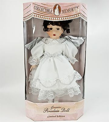 """Collectible Memories Porcelain 16"""" Angel Doll Crystal Brunette White Silver NEW"""