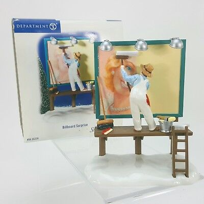 Dept 56 Snow Village Billboard Surprise Man Painting Road Sign Figurine in Box