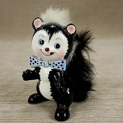 "Ucagco Ceramics Skunk Figurine 4"" Open Arms w/ Real Black White Rabbit Fur"
