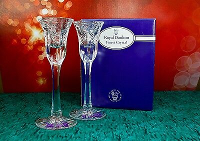 """Royal Doulton 1997 Chelsea Heights Finest Crystal 8"""" Candlestick Set 2 Germany"""