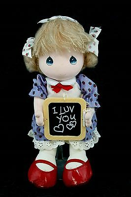 """Applause 1987 Precious Moments 11"""" Girl Doll I Luv You Chalkboard Red Shoes P16"""