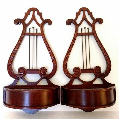 Antique Ferguson Brothers MPG Mahogany Wooden Duncan Phyfe Plant  Wall Sconces