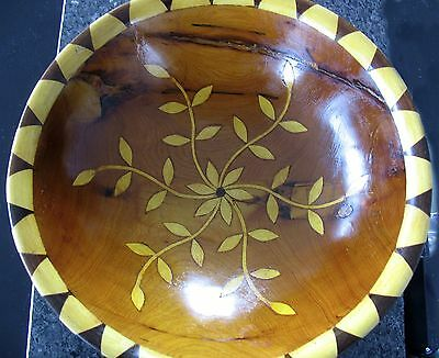 Inlaid Burl Wood Bowl, Floral Center, Hand Turned, Wooden Bowl, Home Decor