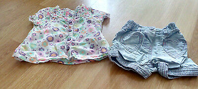 Baby Girl M & S Shorts And Top Set - 3-6 Months