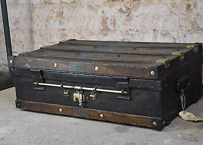 Antique Travel Trunk 1908 Wood and Metal Brass Lock Military Chest