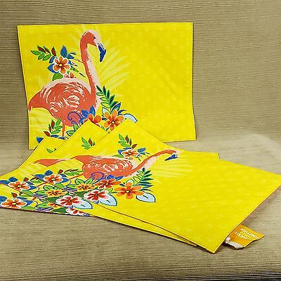 Flamingo Flowers Yellow Set 4 Fabric Table Setting Placemat Celebrate Summer NEW