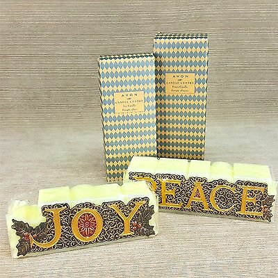 Joy & Peace Avon Christmas Candle Centre Set 2 Wick Green Gold Red NEW in Box
