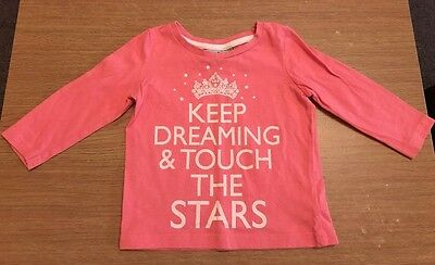 GIRLS PINK TOP - KEEP DREAMING AND TOUCH THE STARS   - By Next - Age 3-6 Mth