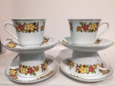 VINTAGE RETRO 70's TEA CUP AND SAUCER YELLOW ORANGE FLOWERS WITH GOLD TRIMS