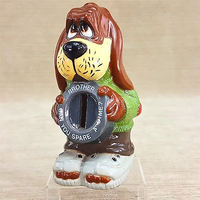 """Hound Dog 5.5"""" Figure Brother Can You Spare A Dime Plastic Coin Bank Vintage"""
