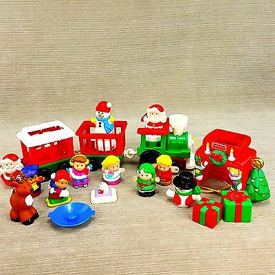 Fisher Price Little People Christmas Train 1998 w/ Santa Reindeer Snowman LOT