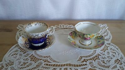 2 sets English Royal Albert bone china  tea cup & saucer CHINTZ & ROYAL BLUE