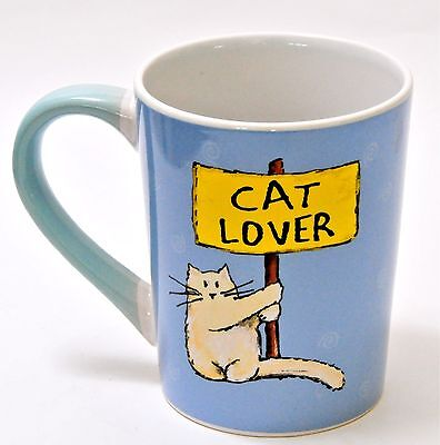CAT LOVER Coffee Tea Soup Mug Cup 16 Ounce NEW Blue Yellow Blonde Kitty