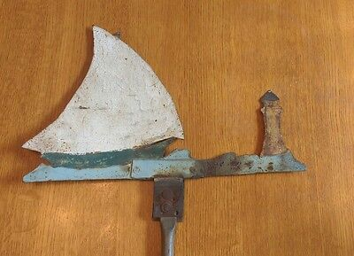 VTG / Antique Folk Art Primitive SAILBOAT & LIGHTHOUSE weathervane. AWESOME!!!
