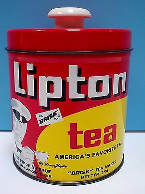 Vtg. Advertising Lipton Tea Storage Tin Canister With Removable Lid - J.l. Clark