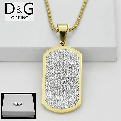 """DG Men's Stainless Steel,Gold 53mm DOG TAGS,CZ Pendant 30"""" Ball Necklaces*BOX"""
