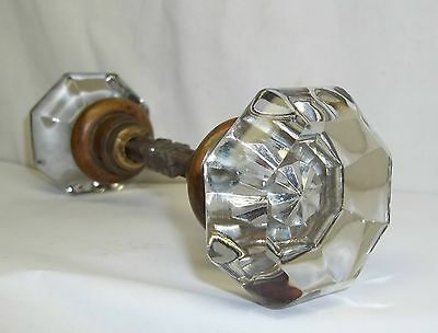Pair Antique Victorian 8 Point Octagon Crystal Glass Door Knobs w/ Square Shaft
