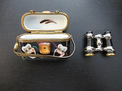 Limoges France Hand Painted Rochard Theater With Opera Glasses Rare Collectible