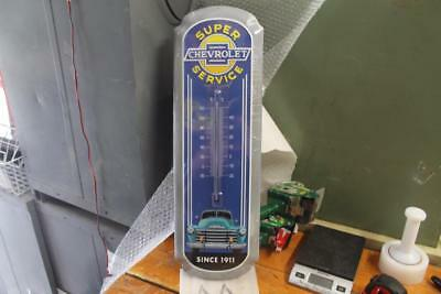 "CHEVROLET SUPER SERVICE METAL SIGN THERMOMETER 26"" x 9"" INCH VINTAGE STYLE NOS"