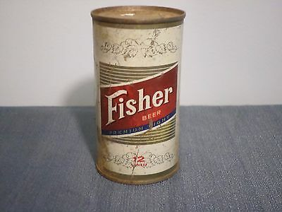 Vintage Fisher Premium Light Lucky Lager Brewing Salt Lake  Flat Top Beer Can GB