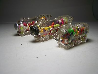 3 Mint Locomotive Glass Candy Containers