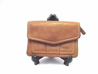 Fossil Womens  Brown Leather   Coin Purse Wallet Id Holder Key Ring