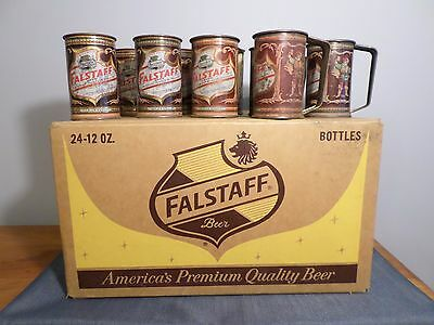 Vtg Falstaff Wax Cardboard Bottle Case Carrier With 9 Cone Top Beer Can Mugs GB