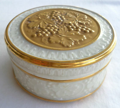 Lenox Round Covered Trinket Box, Grapes & Leaves Design with Gold Trim